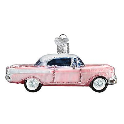 PINK CLASSIC CAR 57 CHEVY FIFTIES OLD WORLD CHRISTMAS GLASS ORNAMENT NWT 46023