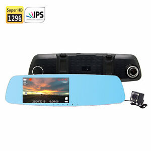 SmarTure 1296P Mirror Dashcam, IPS Screen,2 Cams, Parking assist