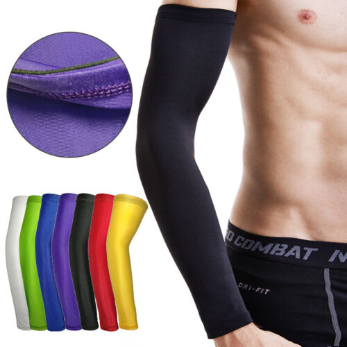 1Pair Sports Arm Compression Sleeve Basketball Cycling Running UV Protection US Basketball