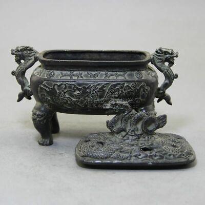 China Old Bronze Handmade Exquisite Dragons statue Incense Burner W Daming mark