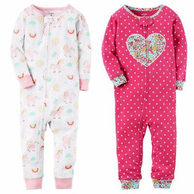 Carters Girls 1-Piece Snug Fit Footless Pajama Rainbow Unicorn Heart Sleeper PJs