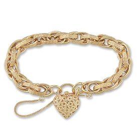 9ct gold beautiful heart lock bracelet