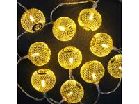 Battery Operated 10 Iron Mesh Ball Lights With 10 Warm White LEDs
