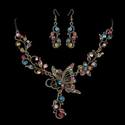 Charm Retro Wedding Bridal Crystal Butterfly Women Necklace Earrings Set Jewelry