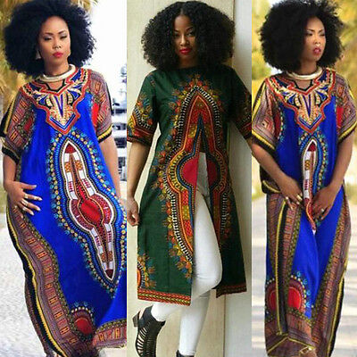 aebe0f96a1f Fashion Women s African Print Dashiki Dress Cultural Ethnic Evening Party  Dress