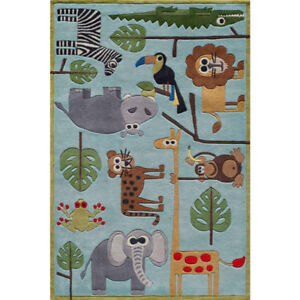 Caprice Animals Blue 8 ft. x 10 ft. Indoor Area Rug - NEW