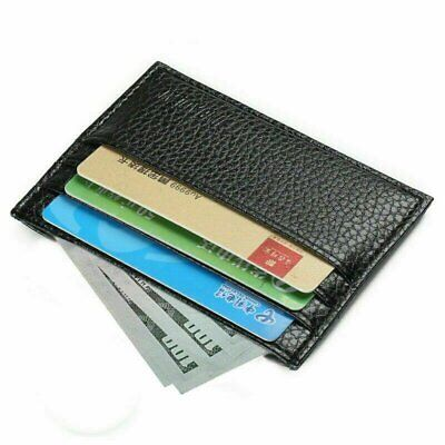 Genuine Leather Mens Small ID Credit Card Wallet Holder Slim Case Pocket Clothing, Shoes & Accessories