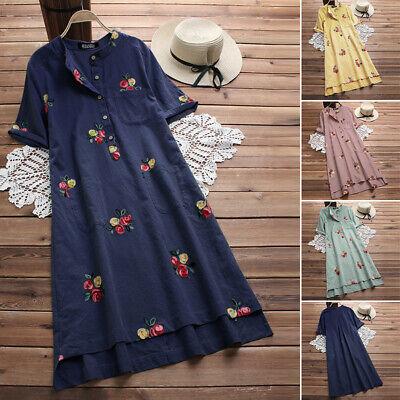 ZANZEA Women Vintage Floral Short Sleeve Long Tops Ladies Loose Midi Shirt Dress
