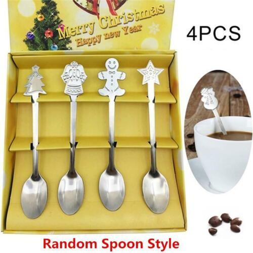 4Pcs/set Mini Christmas Stainless Steel Coffee Tea Kids Spoo
