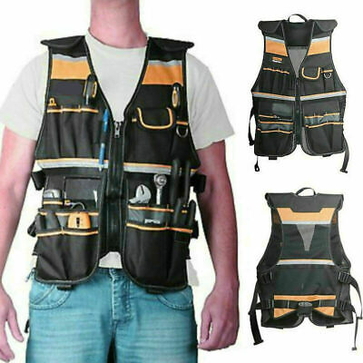 Multi-purpose Electrician Work Tool Vest With Reflective Strips Black Tool Vest