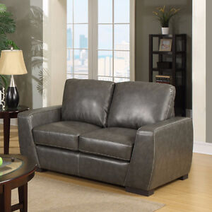 EZTIA COLWOOD ASH-GREY LEATHER LOVESEAT @ VISIONS ELECTRONICS