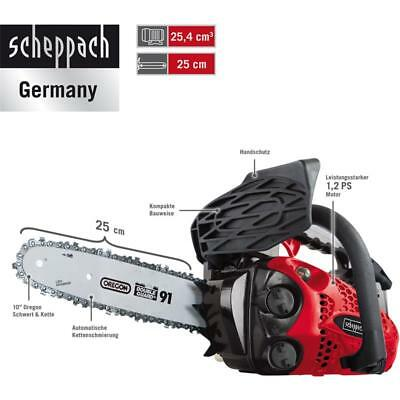 Scheppach Benzin Kettensäge 1,2 PS Motorsäge 25cm mit Oregon-Schwert CSP2540