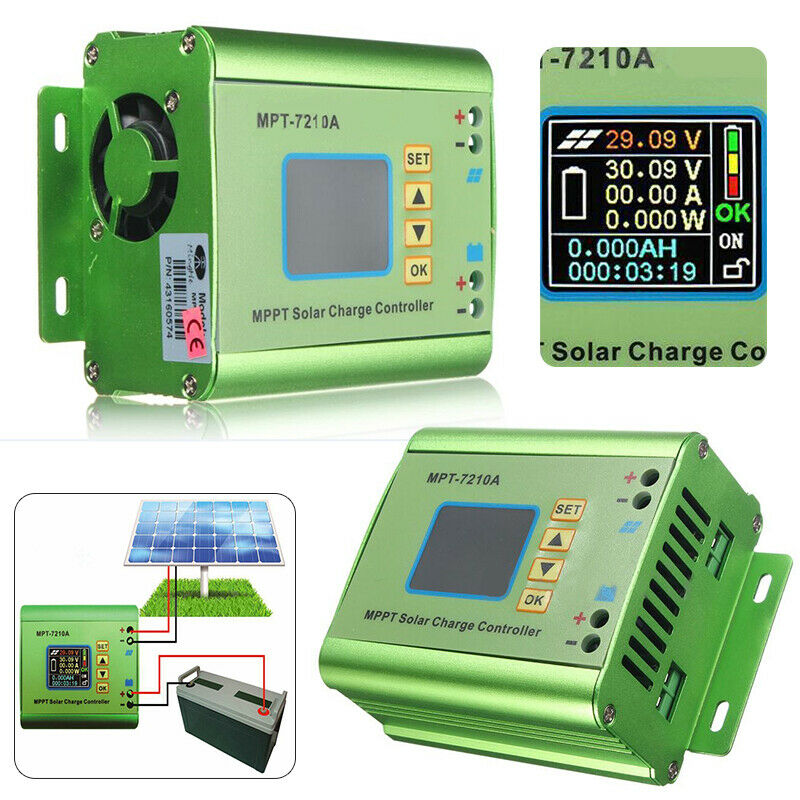 LCD MPPT Solar Regulator Charge Controller 24/36/48/60/72V Boost MPT-7210A US