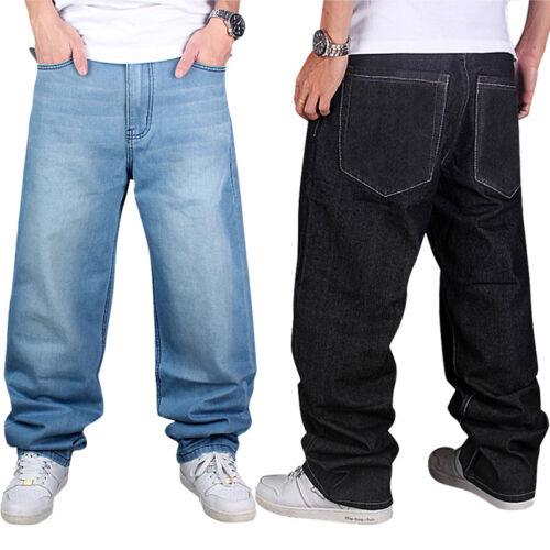 Neu Herren Freizeit Hip Hop Baggy Jeans Hose Denim Pants Skateboard Blau Schwarz
