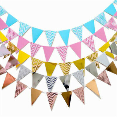 5M Flag Paper Glitter Gold Bunting Banner Garland Wedding Party Hanging Decor h8 - Gold Garland