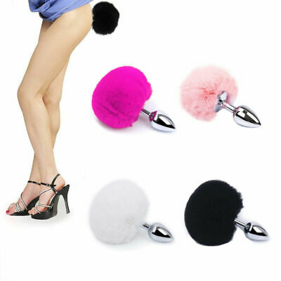 Adult Sexy Fluffy Fur Bunny Rabbit Tail Plug Cosplay Metal Stopper Butt Toy Tail
