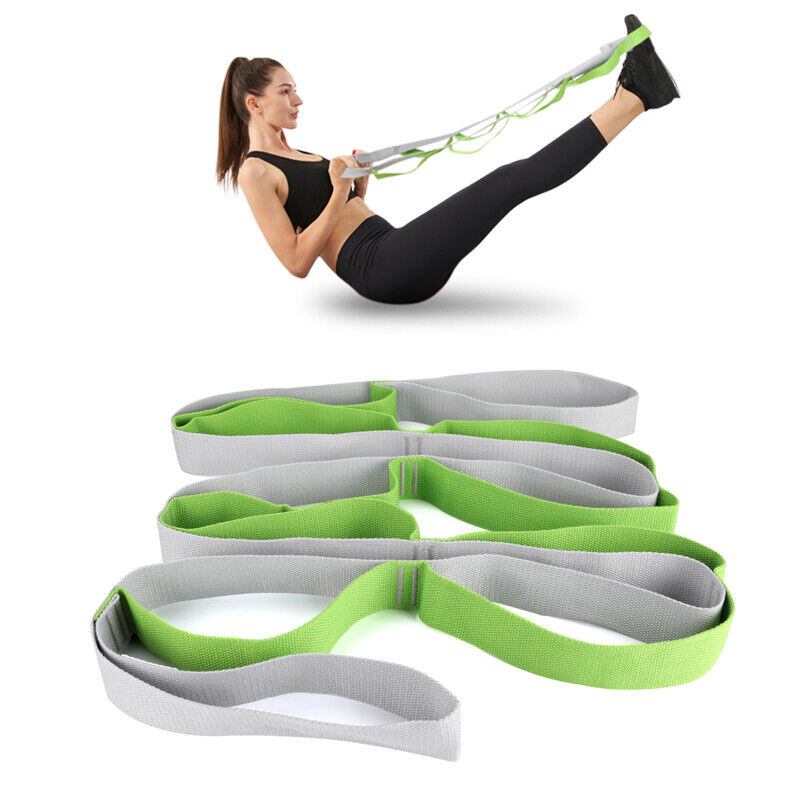 Great Cove Yoga Stretching Strap for Physical Therapy with 12 Grip Loops - Green