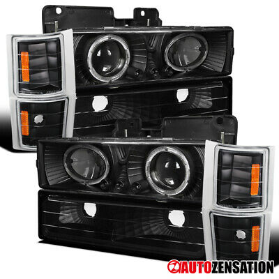 For 94-98 Chevy C10 C/K 1500 Black Halo Projector Headlights+Corner+Bumper Lamps