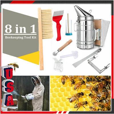 Beekeeping Equipment Tool Bee Brush Catcher Fork Cage Queen Hive Tools Smoker 9x