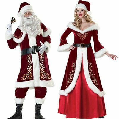 Mr And Mrs Claus Costume (Mr & Mrs Santa Claus Costume Christmas Suit Adult Mens Womens Cosplay Dress)