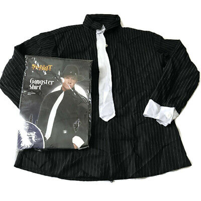 Black And White Striped Shirt Halloween Costume (Spirit Halloween Gangster Shirt One Size Fits Most 42 46 Pin Stripe Black)