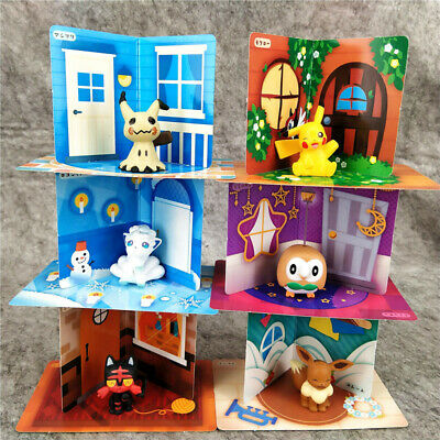 Pokemon Go Pikachu Mimikyu Eevee Figures Toy Playset DIY Kids Toy 6pcs Set New