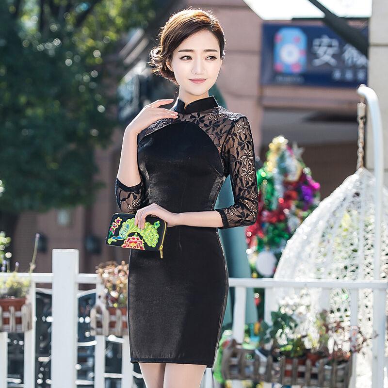 7/8 sleeve Chinese Cheongsam Cheong-Sam Qipao Lace Dress-Ship fast from IL USA