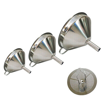 Stainless Steel Funnels Set 3pc Canning Detachable Strainer Filter With Handle