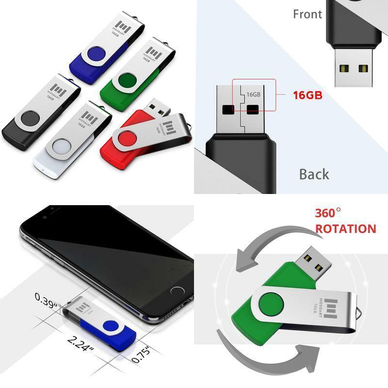 Mosdart 5 X 16Gb Usb 2.0 Flash Drive Swivel Bulk Thumb Drive