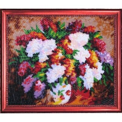 Bead Embroidery kit Lilac Beaded needlepoint Bead stitching Beadwork