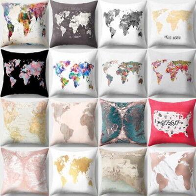US Stock World Map Theme Home Pillow Case Sofa Waist Cushion Cover Decor Car  (Car Themed Decor)