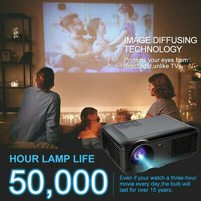 4K 1080P HD Android 3D LED Projector HDMI/USB/AV/VGA/TF Home Theater Cinema USA