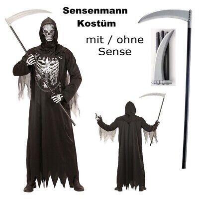 Herren Kostüm SENSENMANN MIT KETTE + Maske mit/ohne - Halloween Kostüm