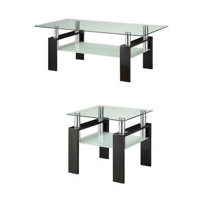 2 Piece Glass Top Coffee Table and End Table Set in Black