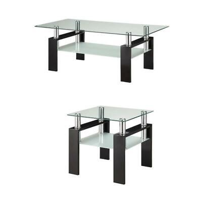 2 Piece Glass Top Coffee Table and End Table Set in Black ()