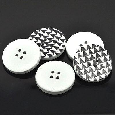 3 Stück  Knöpfe Holz schwarz, weiß 30mm Z5.3
