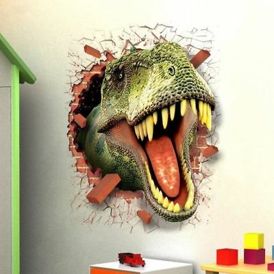 3D Dinosaur Crack Wall Stickers Children Kids Room Decals Removable Home Décor - Dinosaur Stickers