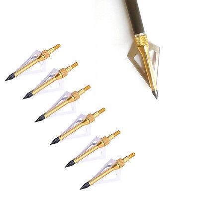 6 X Messing Jagdspitzen Pfeilspitze Arrow heads 100 Grain w