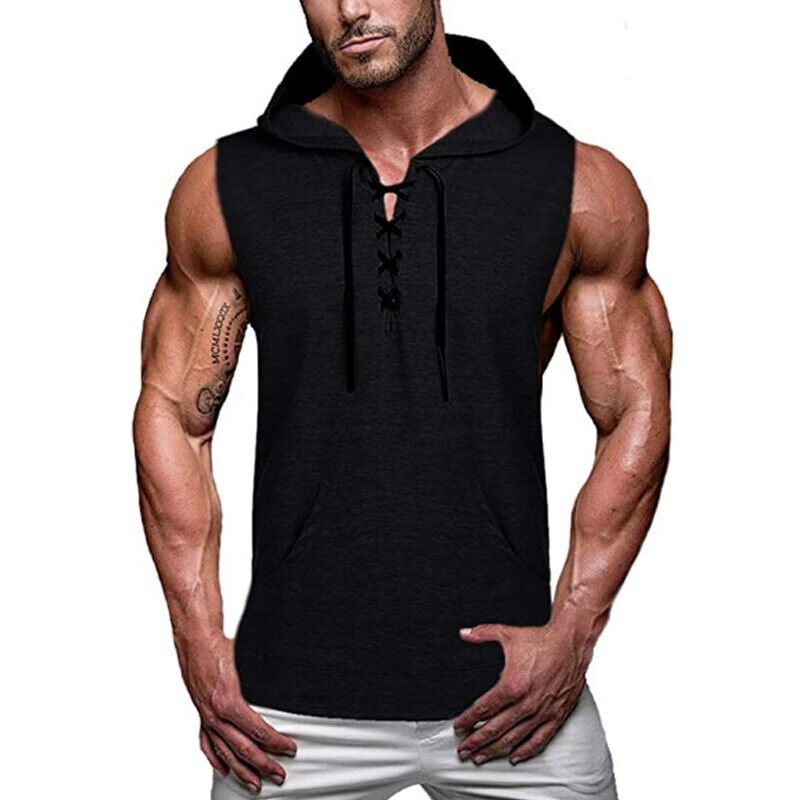 Men Gym Fitness Workout Hoodie Sleeveless Muscle Tee Hooded Tank Plain Tops Tee Clothing, Shoes & Accessories