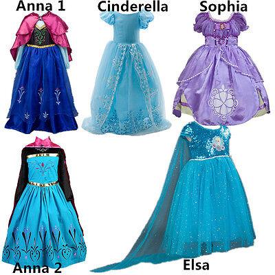 Kids Girl Frozen Princess Anna Elsa Cinderella Sofia Halloween Party Dress 2-9T (Cinderella Dress Halloween)