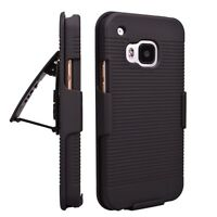 Rugged Hybrid Hard Cover Case + Belt Clip Holster  For HTC M8
