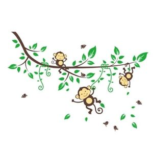 Autocollant / Appliqué mural singes dans la jungle (neuf)