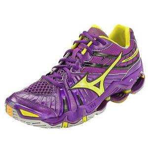 Mizuno-Wave-Tornado-7-Women-039-s-Volleyball-Shoes-NIB-Purple-Yellow-Various-Sizes