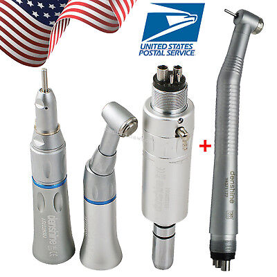 Dental High Low Speed Handpiece Kit 4 Holes Motor Contra Angle Turbine Fit Nsk