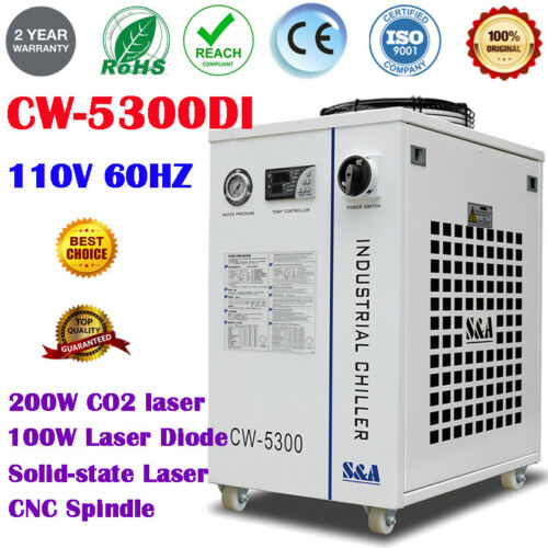 S&A CW-5300DI Industrial Water Chiller for CO2 laser / Laser Diode / CNC Spindle