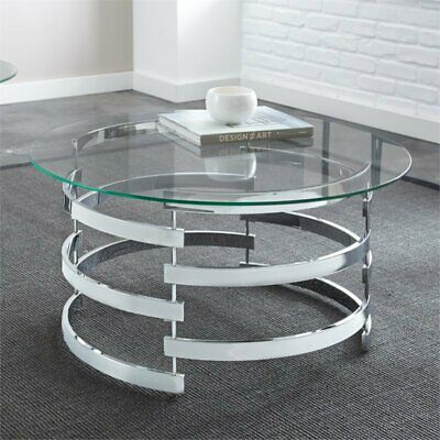 Steve Silver Tayside Round Glass Top Coffee Table in Chrome Chrome Round Coffee Table
