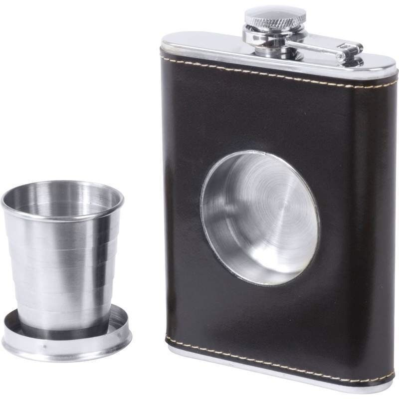 FLASK & SHOT GLASS Builtin Collapsible Stainless Steel Screw Cap Hip Pocket
