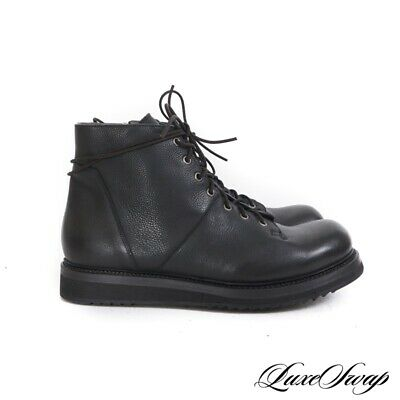 LNWOB Rick Owens Made in Italy Black Matte Leather Side Zip Stomper Boots 44.5