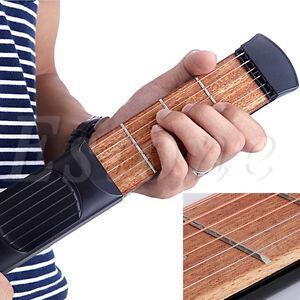 Black Vintage Pocket Acoustic Guitar Gadget Chord 4 Fret for Beginner Practice