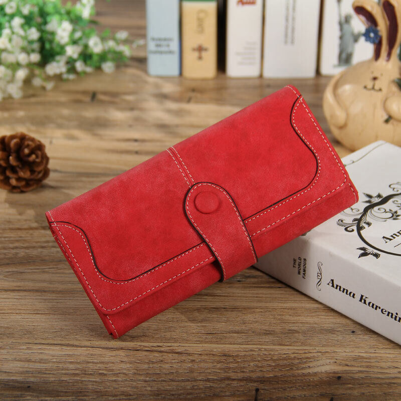 Women Lady Suede Leather Long Wallet Card Holder Purse Handbag Fashion Clutch US Clothing, Shoes & Accessories